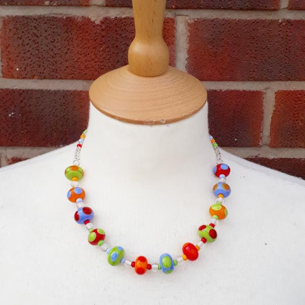 Multi colour dotty bead necklace