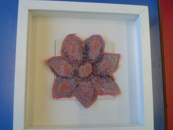 Machine embroidered flowers, some hand stitching, frame 23cm x 23cm