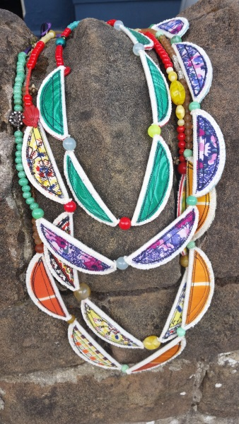 Vintage fabric and bead necklaces