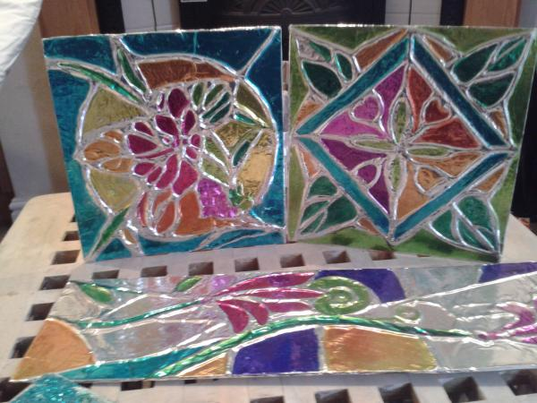 These works is a unique method i use to create  a stained glass affect in my art .It looks much better in life!!!