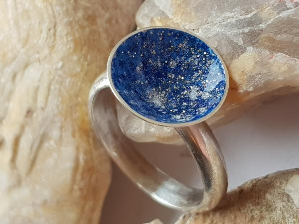 Sterling silver and enamel Galaxy ring