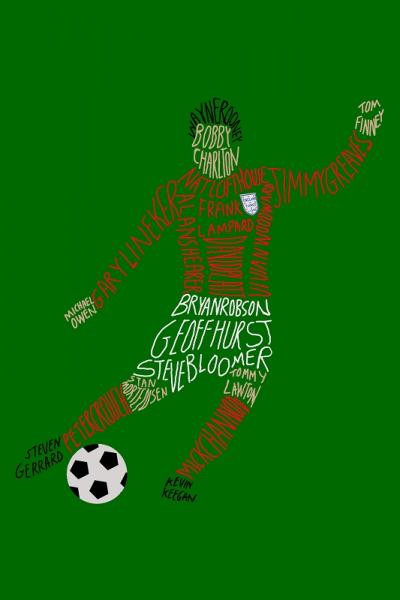 England Footballers Typography Digital Art Print