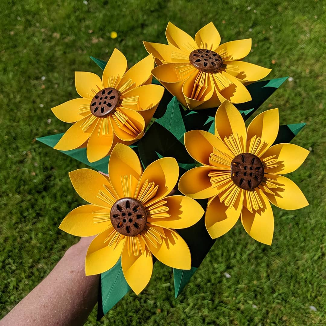 Bouquet of paper sunflowers