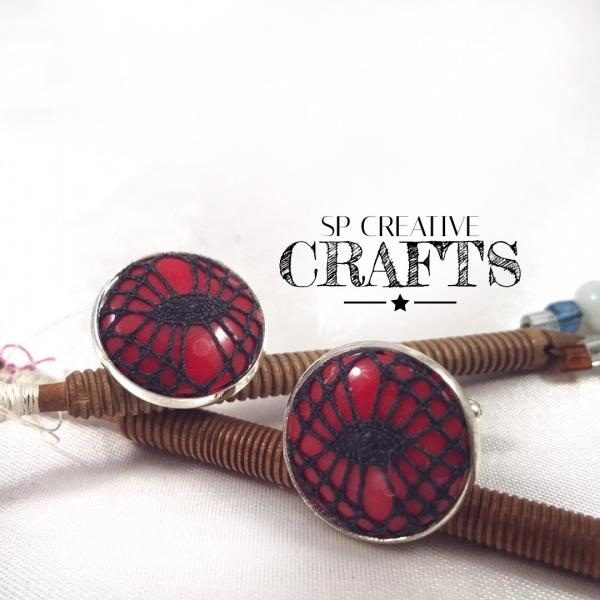 Bobbin Lace Cuff Links - Red with Black Handmade Lace