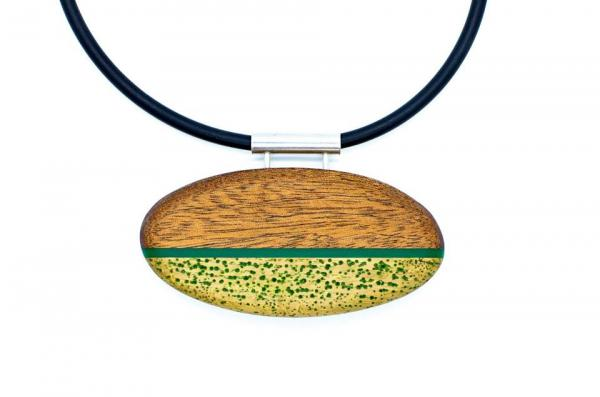 Amber Cooper-Green statement paddle necklace with green acrylic accent