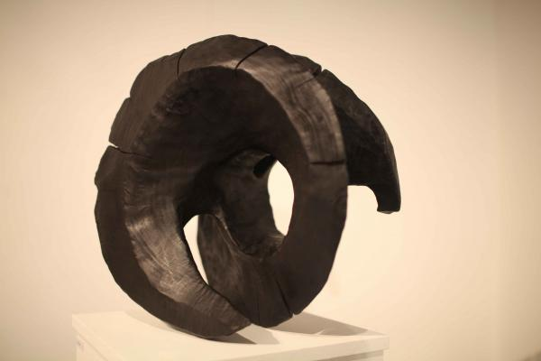 Carved, burnt and polished Wooden Sculpture by Rachel Ramchurn