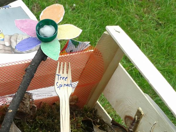 Paper flowers and bug hotel