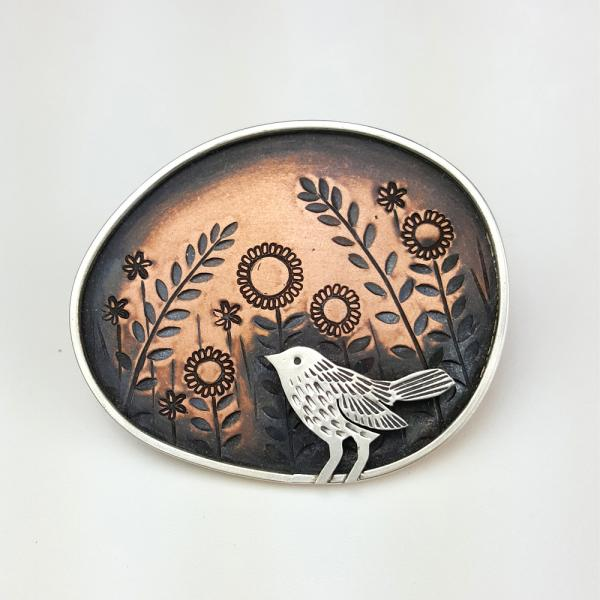 Copper, illustration, silver, bird, handmade, brooch, jewellery, stamped, made in Nottingham