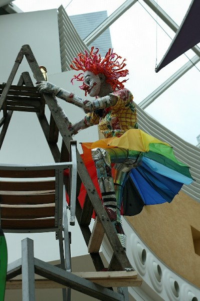 Clown climbing ladder, made from recycled materials