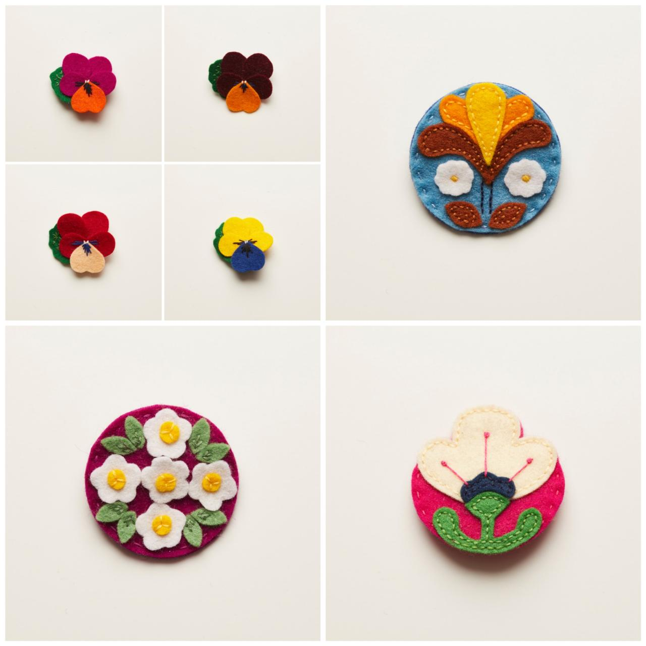 Stitch Studio floral brooches