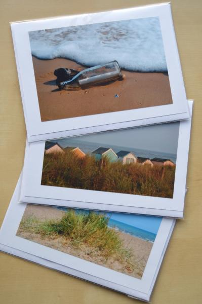 3 greetings cards made with seaside photos