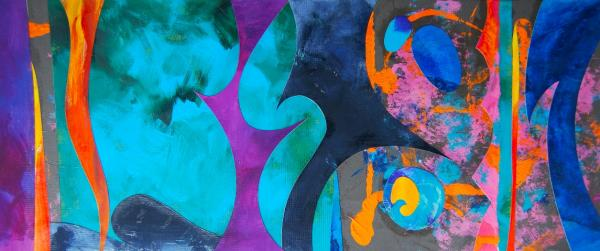 Jo Welch Mixed Media Abstract Collage 'Conception'