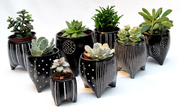 Planters plant pots ceramic stripy various sizes