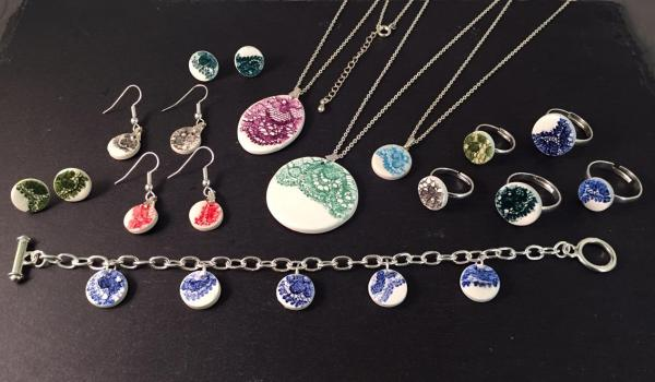 Lace Print Ceramic Jewellery, inspired by the Nottingham lace industry