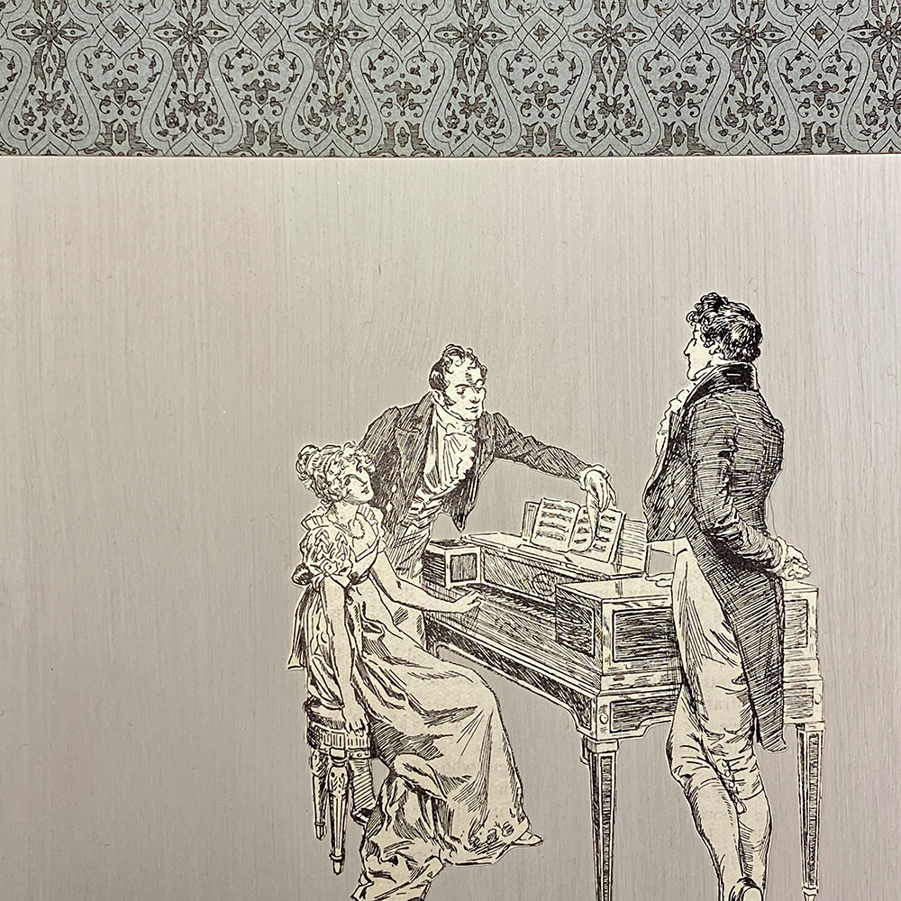 Wood, book and paint collage Elizabeth Bennet at the piano