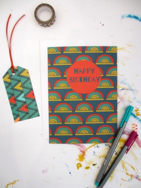 Anna Treliving Rainbow Happy Birthday Card