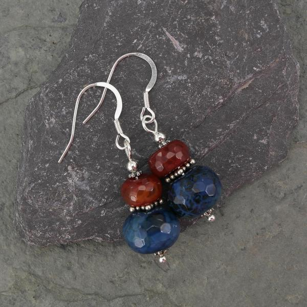 Indian Agate Sterling Silver Handmade Tribal Earrings in Blue and Orange