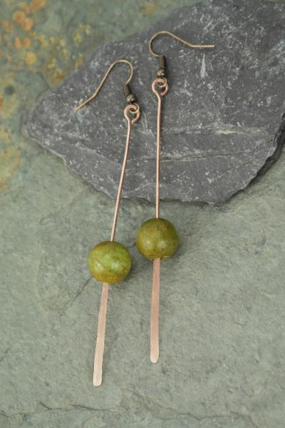 hand hammered chrysocolla and copper extra long paddle earrings