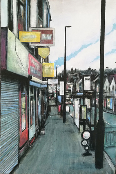 'Shewood High Street' painting by Giles Woodward