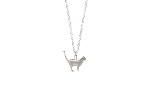 Recycled Silver Cat Necklace; Animal Inspired Jewellery, paw-made with pre-loved silver.