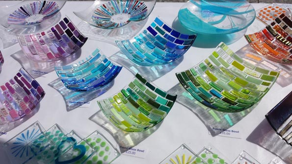 Fused glass bowls in the sunlight