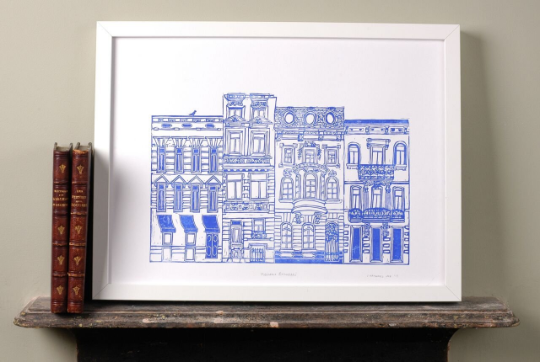 Blue print of Brussels houses
