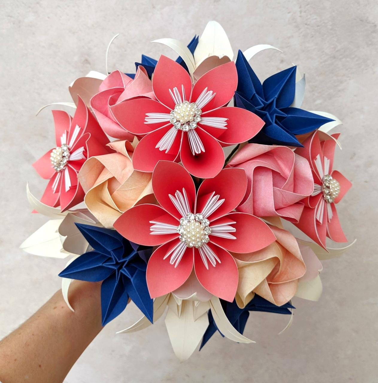 Coral blue and ivory bridal paper bouquet