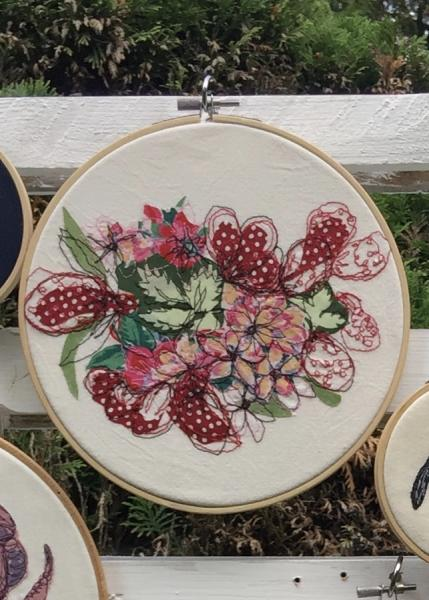 Strawberries and flowers, freehand machine embroidery, Natalie Randall
