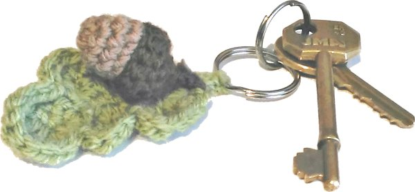 Crocheted Oak Leaf and Acorn Keyring