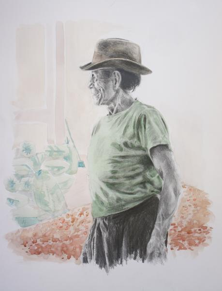 A pencil drawing of an old peruvian man in front of a pile of watercoloured cocoa beans he looks cheerful and is wearing a teeshirt