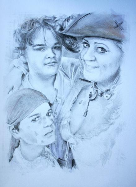 A close up pencil drawing of a mother and her two teenage sons dressed as pirates; they're happy