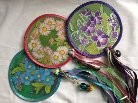 Silk painted fans