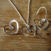 love heart distressed look silver earrings and necklace